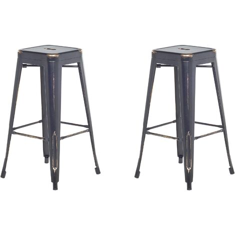 Set of 2 Metal Stools 76 cm Black with Gold CABRILLO