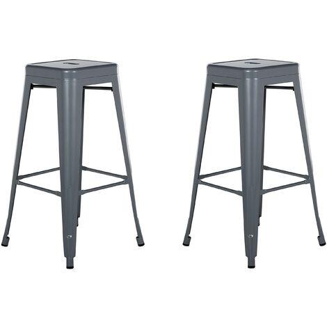 Set of 2 Metal Stools 76 cm Grey CABRILLO
