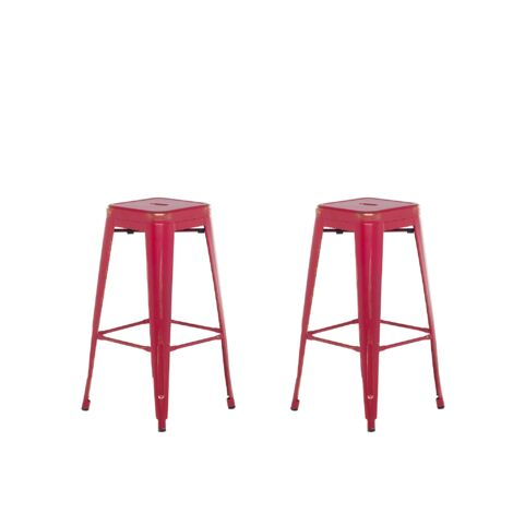 Set of 2 Metal Stools 76 cm Red with Gold CABRILLO