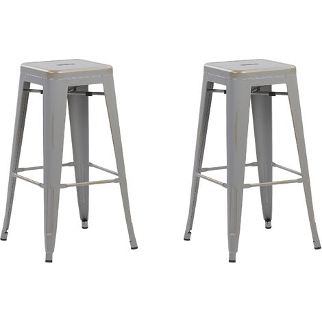 Set of 2 Metal Stools 76 cm Silver with Gold CABRILLO