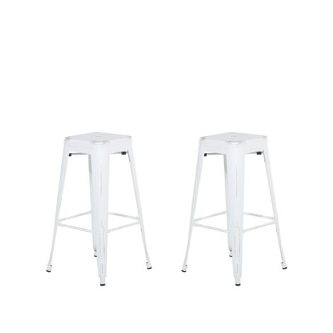 Set of 2 Metal Stools 76 cm White with Gold CABRILLO