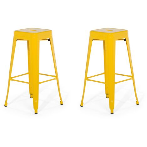 Set of 2 Metal Stools 76 cm Yellow CABRILLO