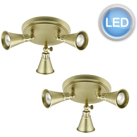 Set of 2 Modern Antique Brass 3 Light Ceiling Spotlights