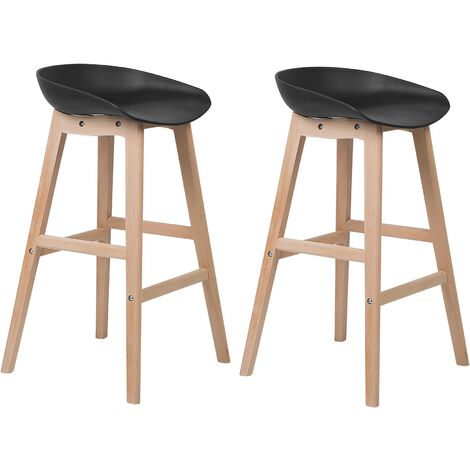 Set of 2 Modern Bar Stools Light Wood Black Kitchen Chairs Micco