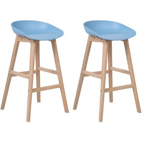 Set of 2 Modern Bar Stools Light Wood Light Blue Kitchen Chairs Micco