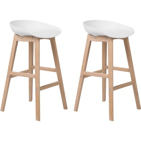 Set of 2 Modern Bar Stools Light Wood White Kitchen Chairs Micco