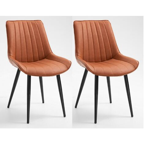 Set of 2 Modern Brown PU Leather Dining Chairs with Metal Legs for Kitchen Home Office Counter Lounge Leisure Living Room Corner Reception with Backrest and Padded Seat