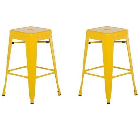 Set of 2 Modern Dining Room Living Room Metal Bar Stools 60 cm Yellow Cabrillo