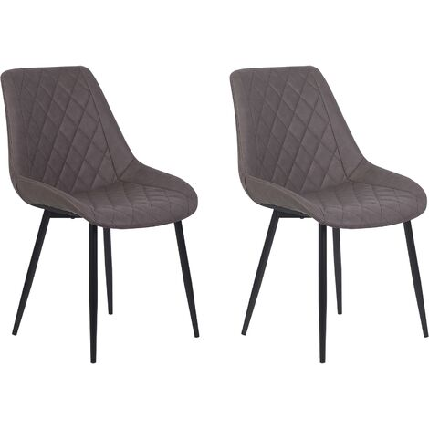 Set of 2 Modern Faux Leather Dining Chairs Brown Steel Legs Armless Maribel