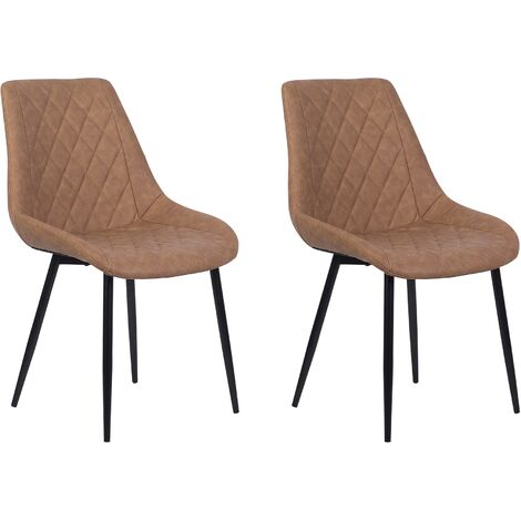 Set of 2 Modern Faux Leather Dining Chairs Golden Brown Steel Legs Armless Maribel