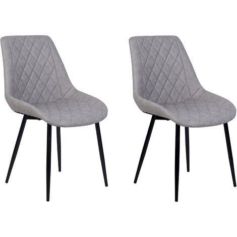 Set of 2 Modern Faux Leather Dining Chairs Grey Steel Legs Armless Maribel