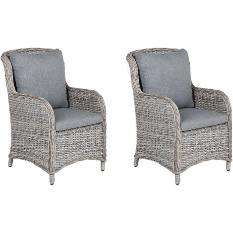 """main image of """"Set of 2 Modern Faux Rattan Garden Dining Chairs Grey with Cushions Cascais"""""""