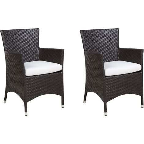 Set of 2 Modern Faux Rattan Outdoor Garden Dining Chairs Brown Wicker Italy