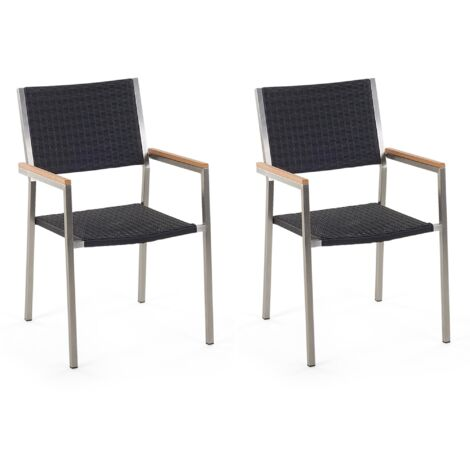 Set of 2 Modern Outdoor Dining Chairs Black Faux Rattan Stainless Steel Frame Grosseto
