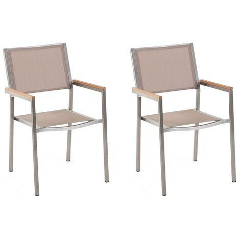 Set of 2 Modern Outdoor Garden Dining Chairs Beige Fabric Steel Frame Grosseto