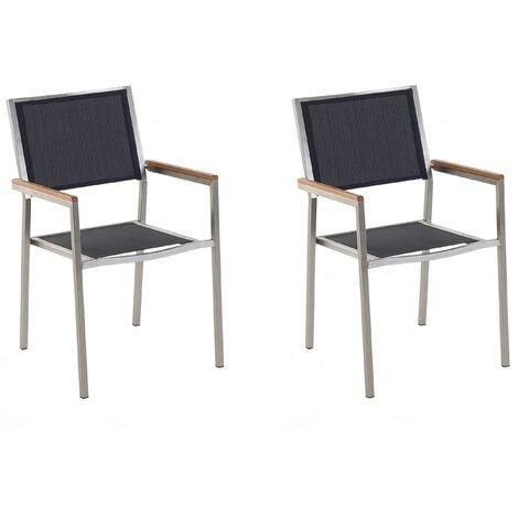 Set of 2 Modern Outdoor Garden Dining Chairs Black Fabric Steel Frame Grosseto