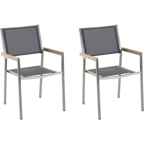 Set of 2 Modern Outdoor Garden Dining Chairs Grey Fabric Steel Frame Grosseto