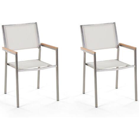 Set of 2 Modern Outdoor Garden Dining Chairs White Fabric Steel Frame Grosseto