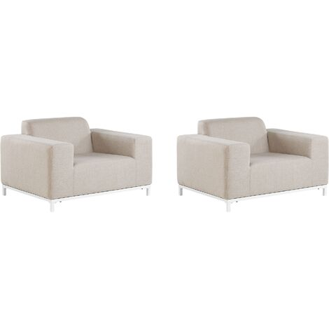 Set of 2 Modern Outdoor Indoor Armchairs Beige Fabric White Legs Rovigo