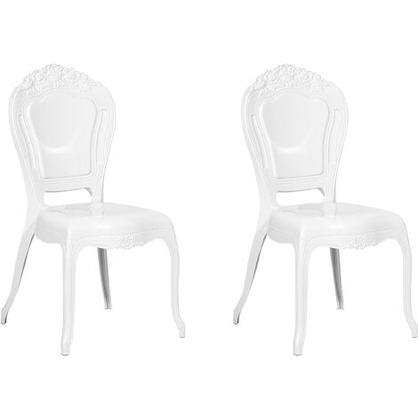 Set of 2 Modern Side Dining Chairs White Acrylic Stackable Vermont