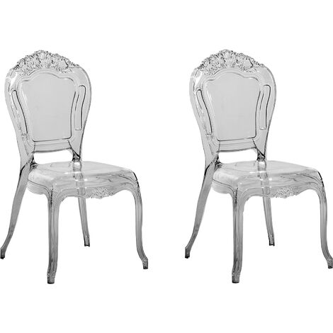 Set of 2 Modern Transparent Dining Chairs Black Acrylic Stackable Vermont