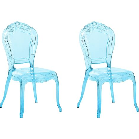 Set of 2 Modern Transparent Dining Chairs Blue Acrylic Stackable Vermont
