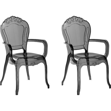 Set of 2 Modern Transparent Dining Chairs Clear Acrylic Stackable Black Vermont II