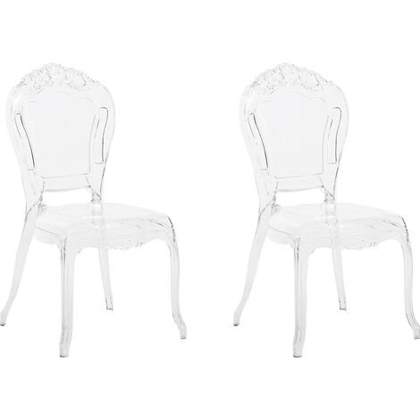 Set of 2 Modern Transparent Dining Chairs Clear Acrylic Stackable Vermont