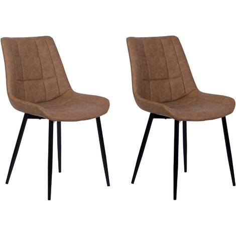 Set of 2 Modern Upholstered Faux Leather Dining Chairs Brown Steel Black Legs Melrose