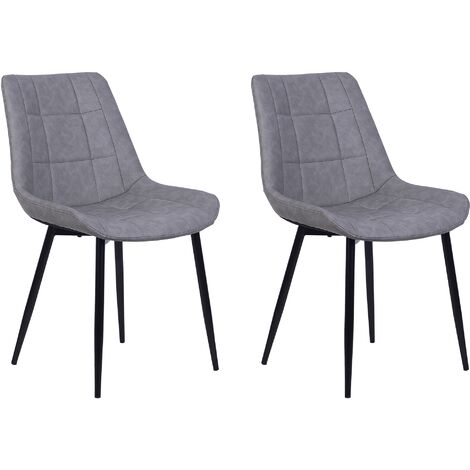 Set of 2 Modern Upholstered Faux Leather Dining Chairs Grey Steel Black Legs Melrose