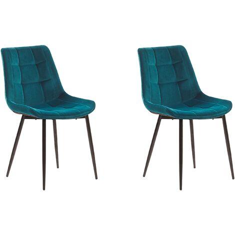 Set of 2 Modern Upholstered Velvet Dining Chairs Blue Steel Black Legs Melrose
