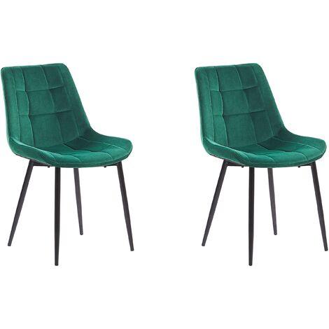 Set of 2 Modern Upholstered Velvet Dining Chairs Green Steel Black Legs Melrose
