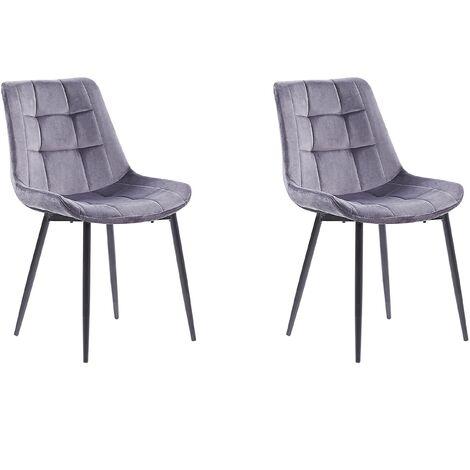 Set of 2 Modern Upholstered Velvet Dining Chairs Grey Steel Black Legs Melrose