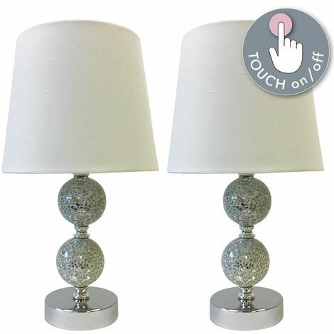 Set of 2 Mosaic Touch Lamps with White Shades