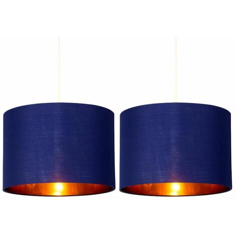 Set of 2 Navy Blue 25cm Light Shade with Gold Inner