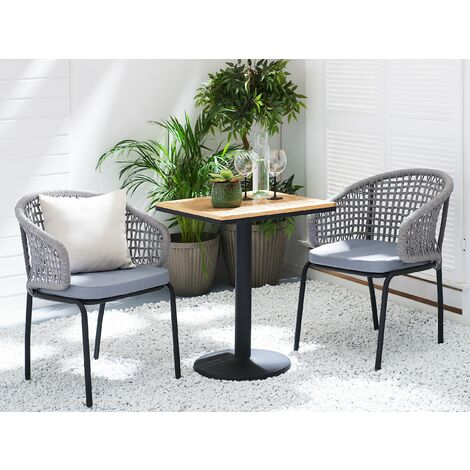 Set of 2 Outdoor Garden Chairs Black Metal Frame Grey Polyester Cushion Palmi