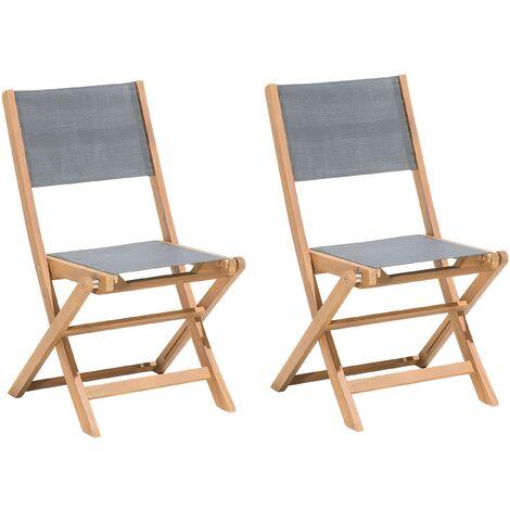 "main image of ""Set of 2 Outdoor Garden Patio Chairs Folding Acacia Wood Natural Grey Seat Cesana"""