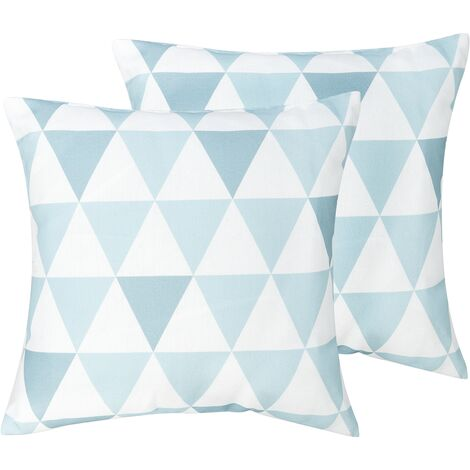Set of 2 Outdoor Scatter Pillows Blue White Geometric Pattern Polyester Zippered