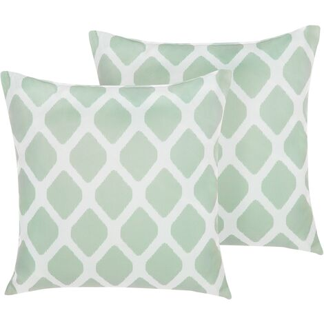 Set of 2 Outdoor Scatter Pillows Green Geometric Pattern Polyester Cover Zippered