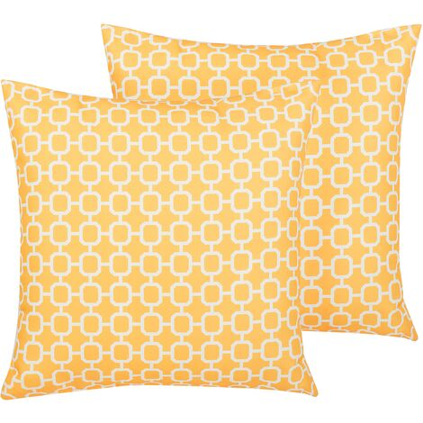 Set of 2 Outdoor Scatter Pillows Yellow Polyester Cover Zippered Garden Patio