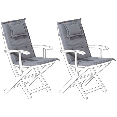 Set of 2 Outdoor Seat/Back Cushion Padded with Removable Headrest Pad Graphite Grey MAUI