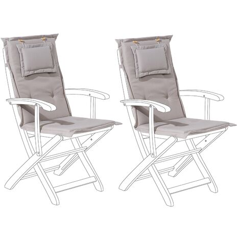 Set of 2 Outdoor Seat/Back Cushion Padded with Removable Headrest Pad Taupe MAUI