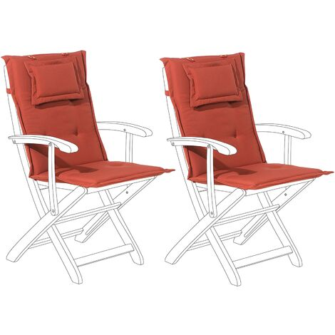 Set of 2 Outdoor Seat/Back Cushions Red MAUI