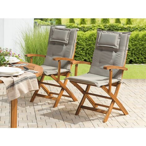 Set of 2 Outdoor Seat/Back Cushions Taupe MAUI