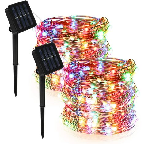 [Set of 2] Outdoor Solar String Lights for Garden, Balcony, Patio, Gate, Yard, Wedding, Party (Multicolor), 12m 120 LED Waterproof Copper Wire Outdoor String Lights 8 Modes Decorative Solar String Lights