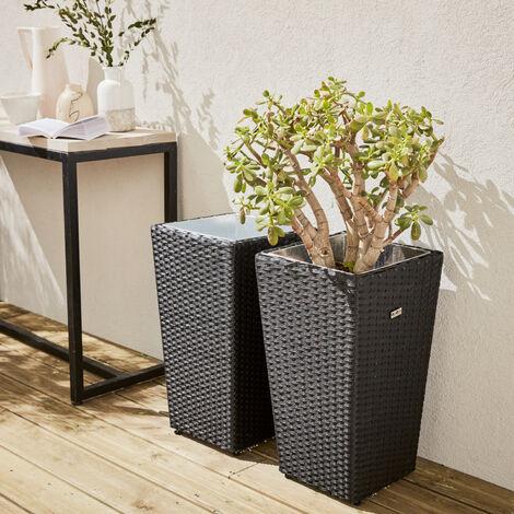 Set of 2 plant pots, Black decorative pot in rattan, 60cm vases