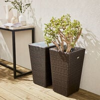 Set of 2 plant pots, Chocolate decorative pot in rattan, 60cm vases
