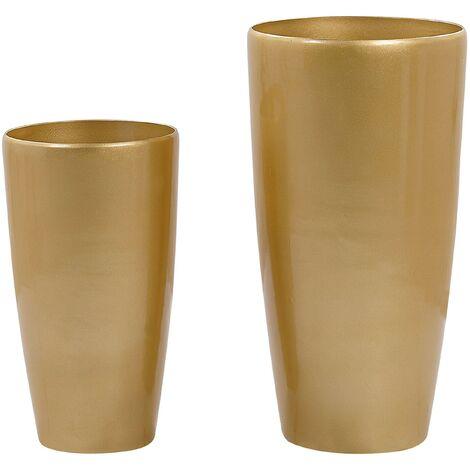 Set of 2 Plant Pots Gold TSERIA