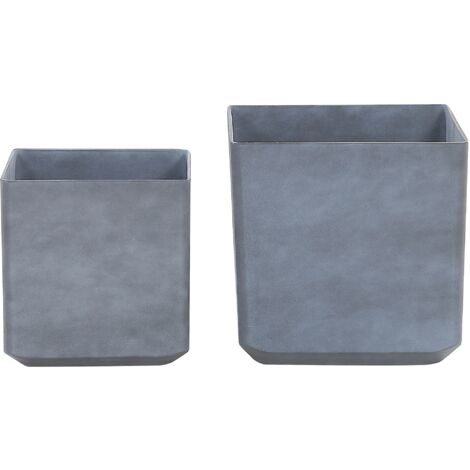 Set of 2 Plant Pots Grey ARTIKI
