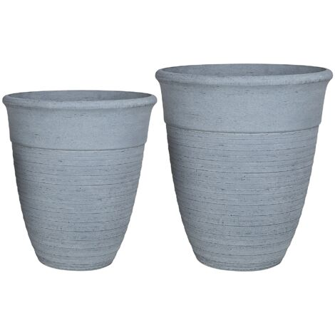 Set of 2 Plant Pots Grey KATALIMA